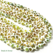 Yellow-Green Agate with Turtleback Pattern Round Faceted 8mm (Full Strand)