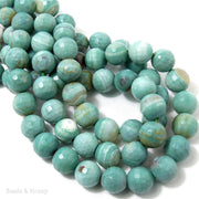 Sea Green Fired Agate Round Faceted 12mm (Half Strand, Qty Pricing)