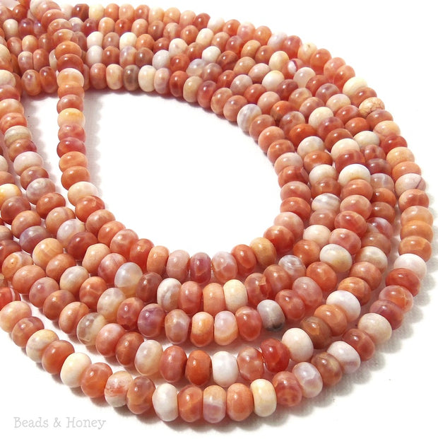 Fire Crackle Agate Red Orange Rondelle Smooth 6mm (Full Strand)