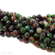 Green Orange and Black Fired Agate Round Faceted 10mm (Half Strand, Qty Pricing)