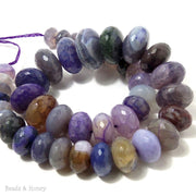 Purple Fired Agate Graduated Rondelle Faceted 12-22mm (Full Strand)