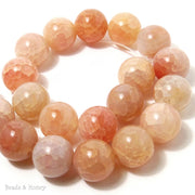 Peach Fire Crackle Agate Round Smooth 18mm (Half Strand)