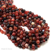 Red Orange Black Banded Agate Round Faceted 6mm (Full Strand)