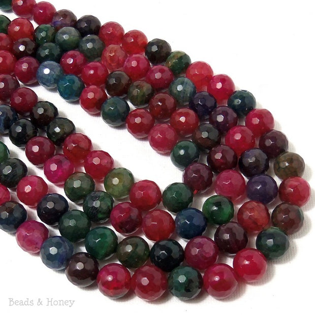 Fired Crackle Agate Red/Green/Blue Round Faceted 10mm (14.5 Inch Strand)