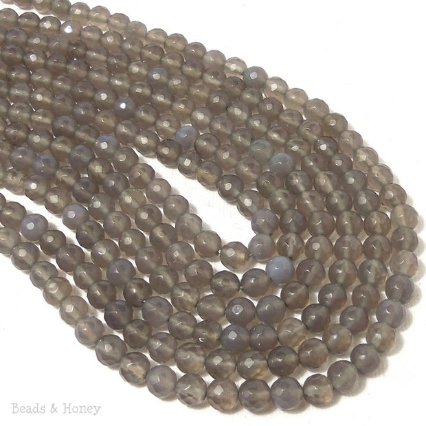 Gray Agate Round Faceted 6mm (Full Strand)
