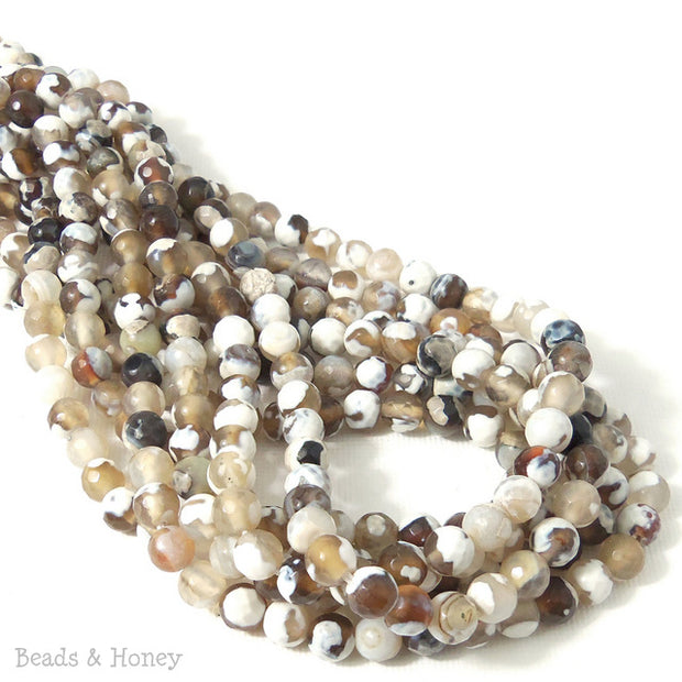 Fired Agate White/Brown/Black Round Faceted 6mm (14.5-15 Inch Strand)