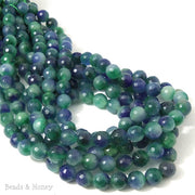 Fired Agate Bead Dark Blue/Green Round Faceted 8mm (14.5-15 Inch Strand)