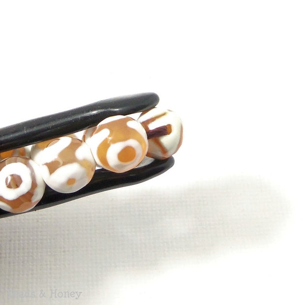 Fired Agate Bead Brown/Peach Round Faceted 8mm (14.5-15 Inch Strand)