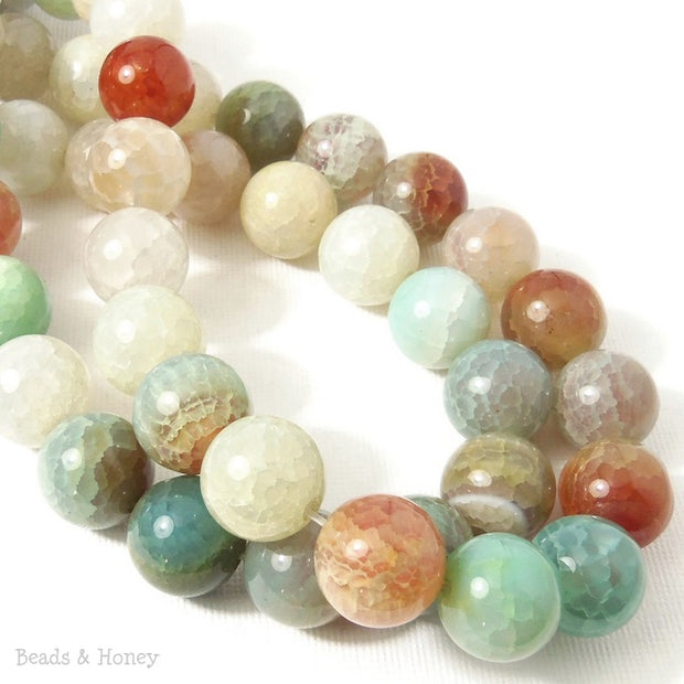 Fired Crackle Agate Bead Light Blue-Green/White/Brown Round Smooth 14mm (15 Inch Strand)