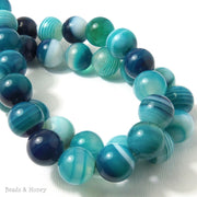Dyed Agate Bead Aqua Blue/White Round 14mm (15 Inch Strand)