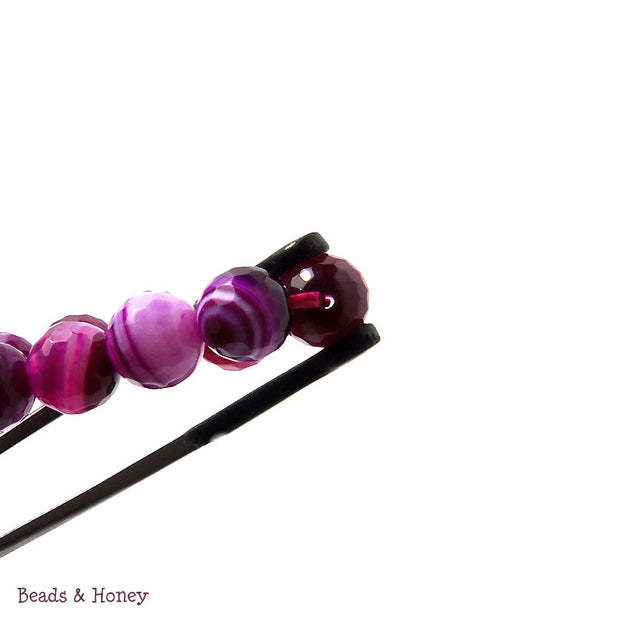 Purple/Magenta Striped Fired Agate Round Faceted 8mm (Full Strand)