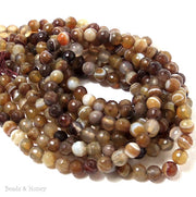 Brown White Agate Banded Round Faceted 6mm (Full Strand)