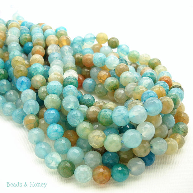 Fired Crackle Agate Aqua Blue Round Faceted 8mm (15 Inch Strand)