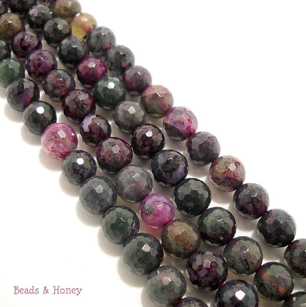 Green Purple Fired Agate Round Faceted 8mm (Full Strand)