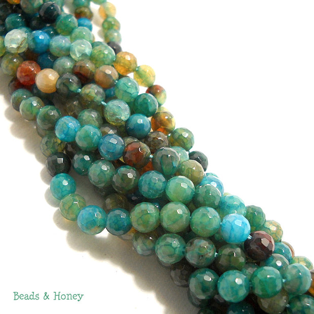 Fired Crackle Agate Bead Light Aqua Blue Round Faceted 6mm (14.5-15 Inch Strand)