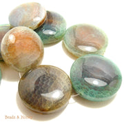 Aqua Fired Agate Round Coin Focal 35-45mm (1pc)