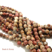 Pink and Brown Antiqued Fired Agate Round Faceted 6mm (Full Strand)