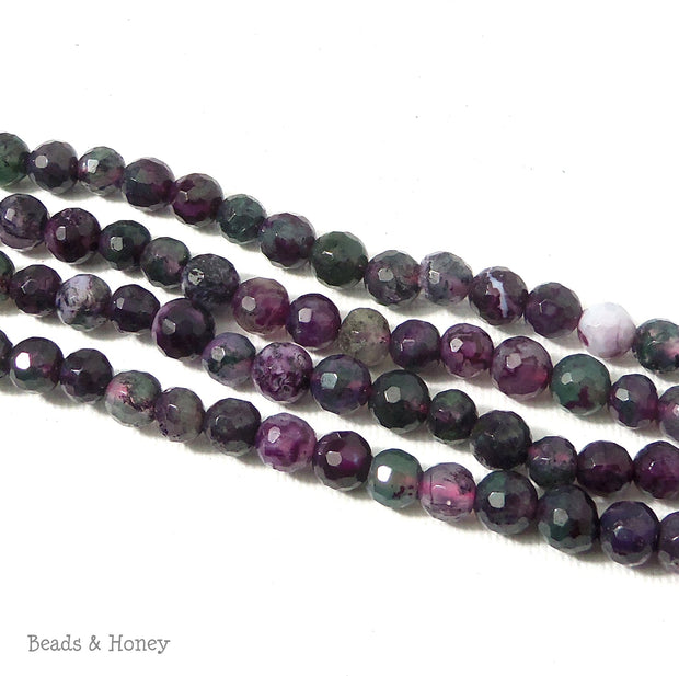 Green Purple Fired Agate Round Faceted 6mm (15 Inch Strand)