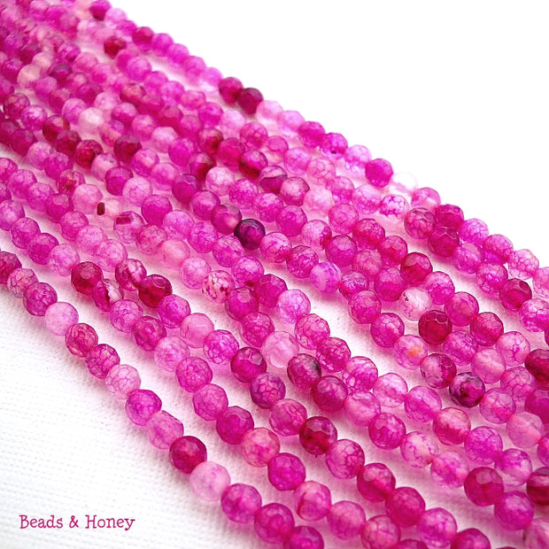 Hot Pink Fired Agate Round Faceted 4mm (Full Strand)