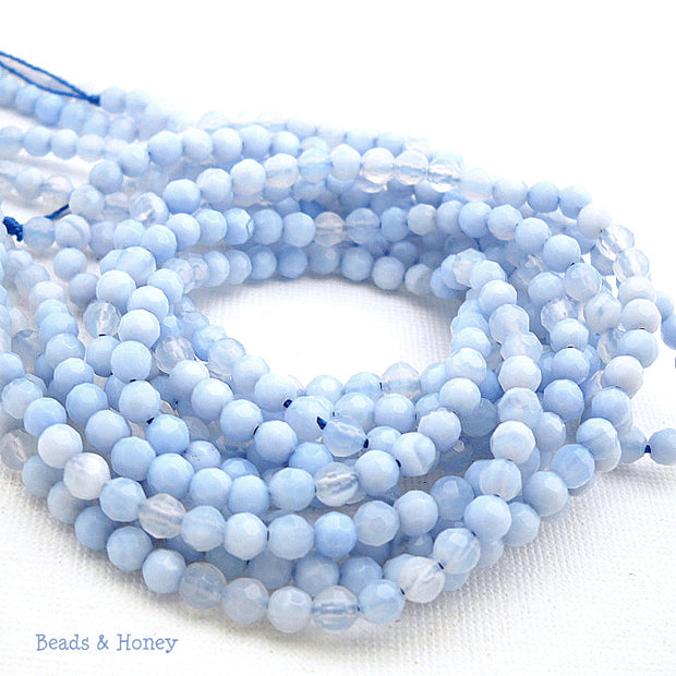 Fired Agate Light Blue Round Faceted 4mm (Full Strand)