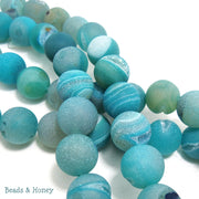 Agate with Drusy Blue Round Matte 12mm (10pcs)