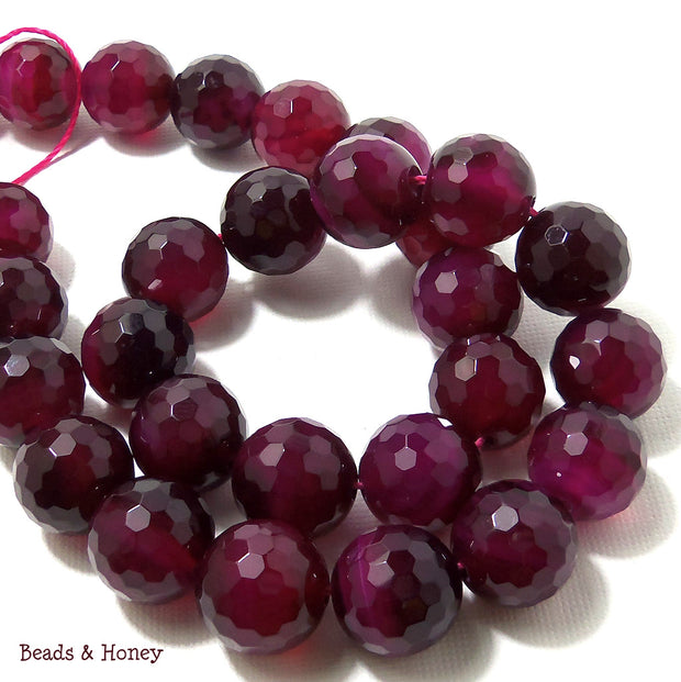 Agate Fired Magenta Round Faceted 14mm (Half Strand, 14pcs)
