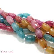 Agate Dyed Pink Blue Yellow Rice Faceted 7x10mm (Full Strand)
