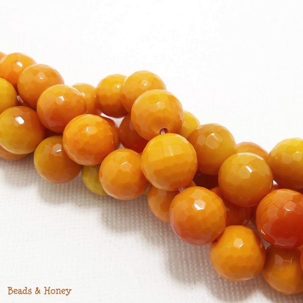 Agate Fired Orange Round Faceted 8mm (Full Strand)