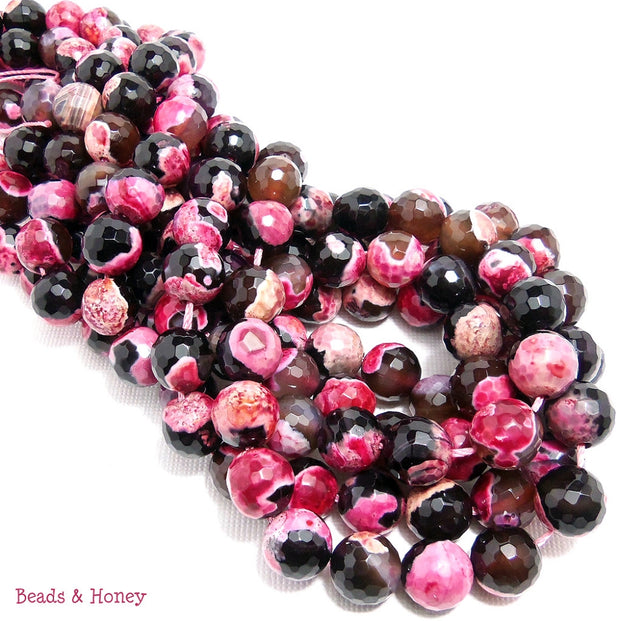 Pink and Black Fired Agate Round Faceted 10mm (Full Strand)