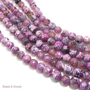 Agate Fired Purple White Black Round Faceted 6mm (Full Strand)