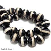 Black Striped Agate Round Faceted 10mm (Full Strand)