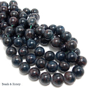 Dark Blue Apatite w/Brown Matrix Round 10mm (Full Strand)