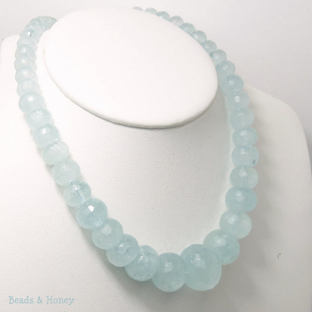 Aquamarine Graduated Rondelle Faceted 7-23mm (Full Strand)