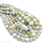Multicolor Aquamarine Graduated Round Faceted 6mm-16mm (18-Inch Strand)
