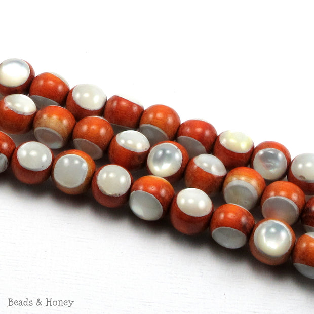 Sibucao Wood Bead with White Mother of Pearl Inlay Round 8mm (8-Inch Strand)