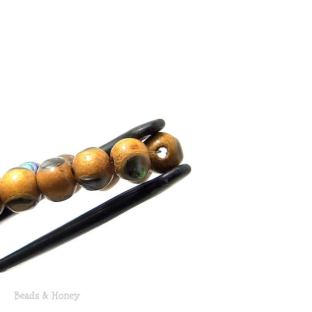 Nangka Wood Bead with Abalone Shell Round 8mm (8-Inch Strand)