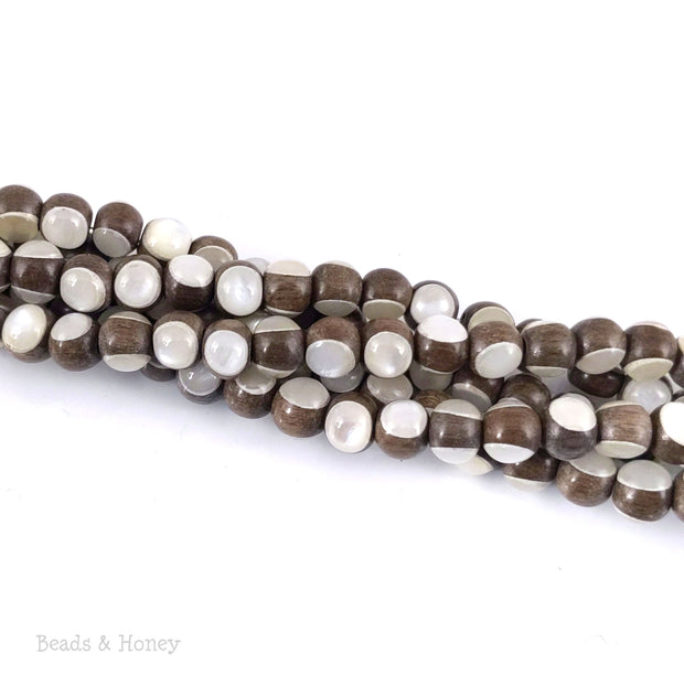 Graywood Bead Inlaid with White Mother of Pearl Round 6mm (8-Inch Strand)