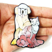 Mosaic Shell Inlaid Resin Cabochon Cat and Dog 60x40mm (1pc)