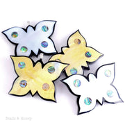 Mosaic Butterfly Inlaid with Gold Mother of Pearl and Abalone Shell 56x38x6mm (1pc)