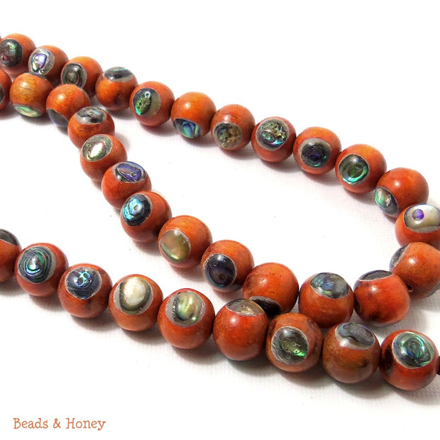 Sibucao Wood Beads with Abalone Shell Inlay Round 10mm (8-Inch Strand)