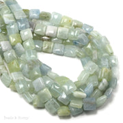 Rainbow Aquamarine Bead Multi Square Puff 10mm (16-Inch Strand)