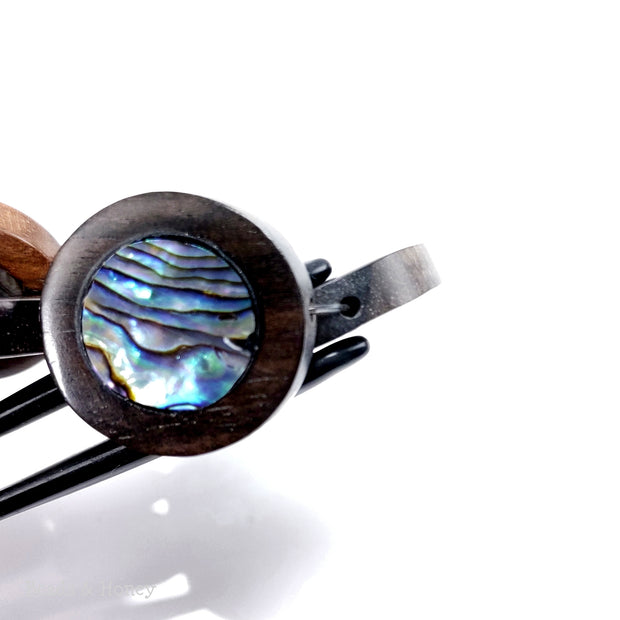 Ebony Wood Bead with Abalone Shell Flat Coin 23mm (8-Inch Strand)