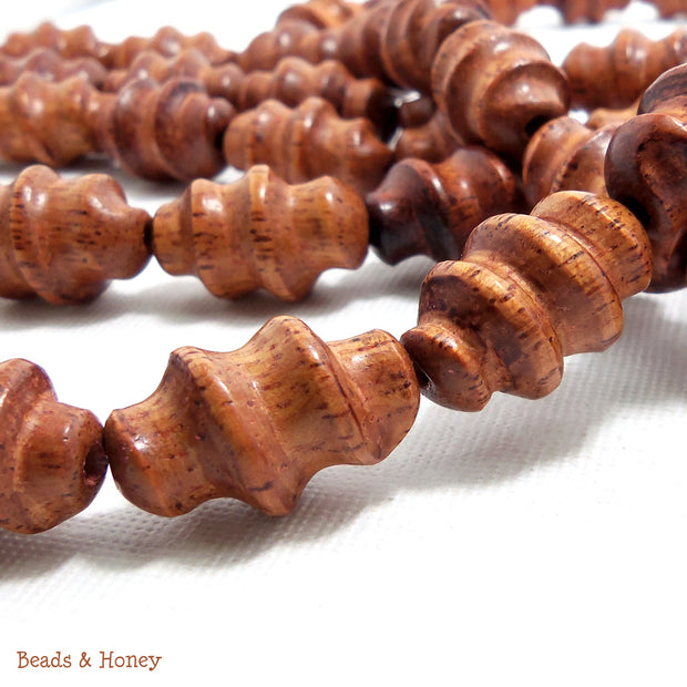 Bayong Wood Carved Spiral 10x20mm (Half Strand)