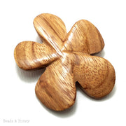 Bayong Wood Carved Flower Focal Bead 45-50mm (2pcs)