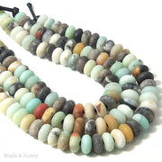 Dakota Stones Matte Black Gold Amazonite Large Hole Bead Rondelle 8mm (8 Inch Strand)