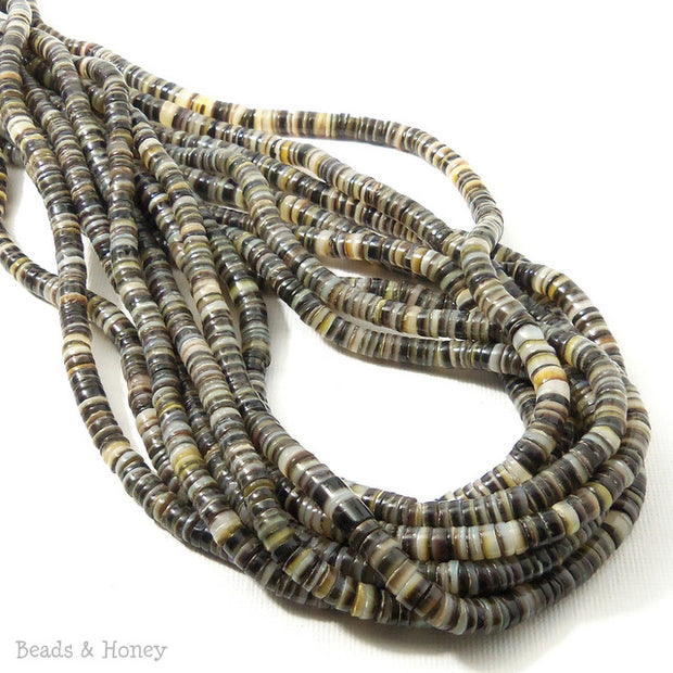Black Lip Shell Heishi 4-5mm (24 Inch Strand)