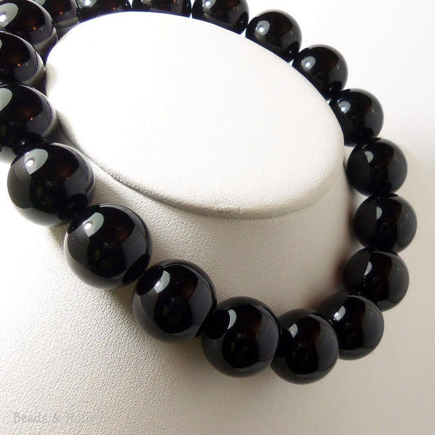Black Onyx Round Smooth 20mm (Full Strand)