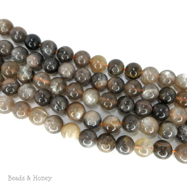 Black Sunstone Round Smooth 8mm (15.5-Inch Strand)