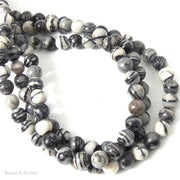 Black Water Jasper Gemstone Bead Round Smooth 6mm (16 Inch Strand)