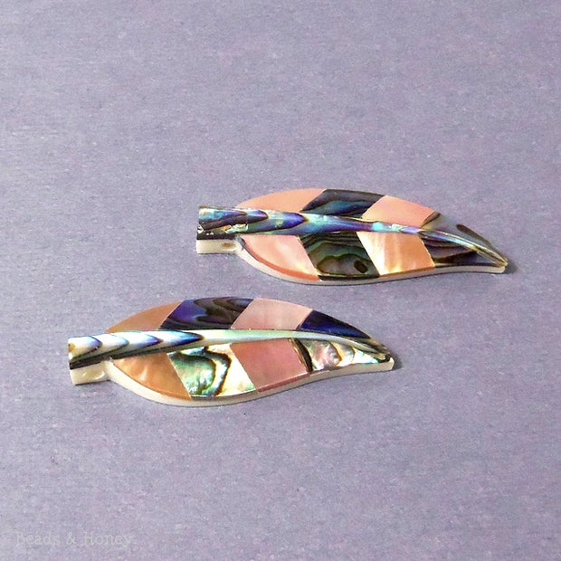 Carved Bone Feather with Abalone and Brown Lip Shell Inlay (2pcs)